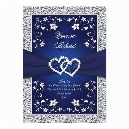 Royal Blue Wedding Invitations Navy Silver Floral Hearts Faux Foil Wedding Invite