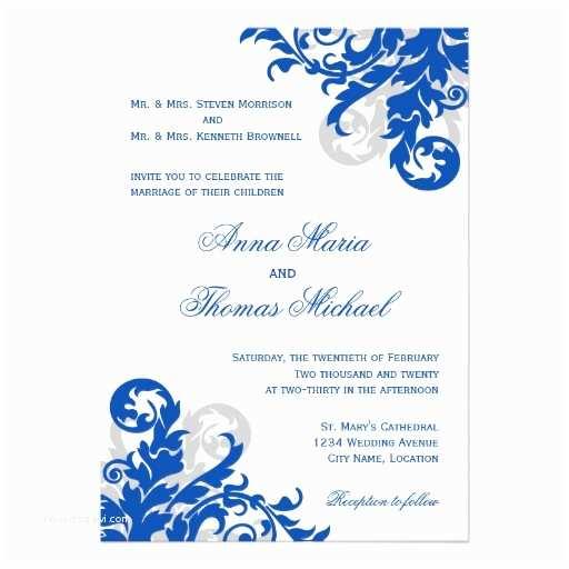 Royal Blue Wedding Invitations Personalized Royal Blue Wedding Invitations
