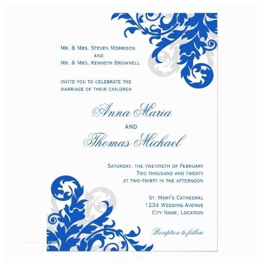 Royal Blue Wedding Invitations Royal Blue and Silver Flourish Wedding Invitation