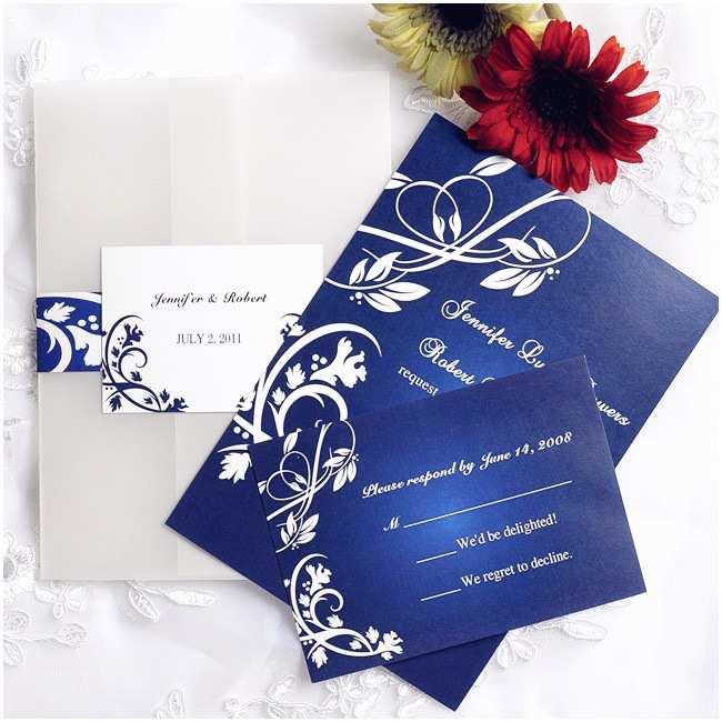 Royal Blue Wedding Invitations Royal Blue Floral Design Pocket Wedding Invitations