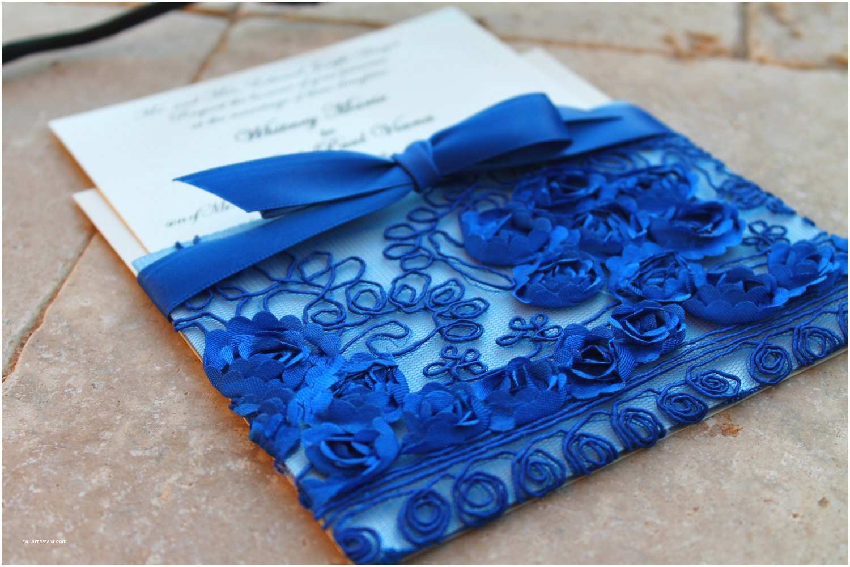 Royal Blue Wedding Invitations Royal Blue Lace Wedding Invitation Sleeve Pocket