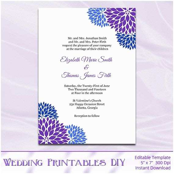 Royal Blue Wedding Invitations Royal Blue Purple Wedding Invitation Template Diy
