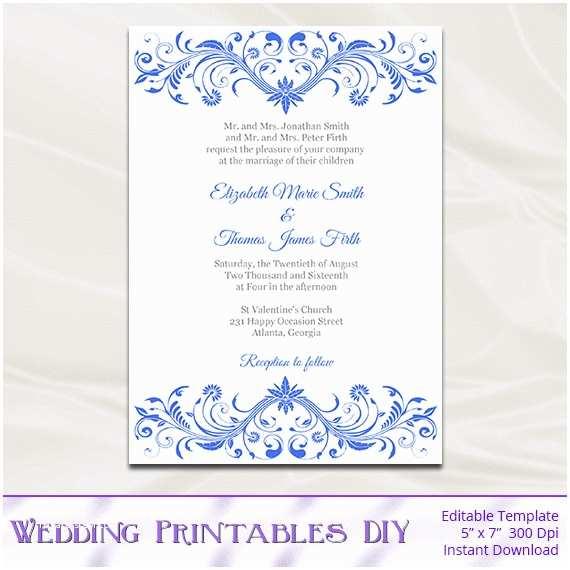 Royal Blue Wedding Invitations Royal Blue Wedding Invitation Template Diy Printable