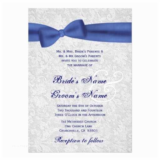 Royal Blue Wedding Invitations Silver Damask and Royal Blue Bow Wedding 5x7 Paper