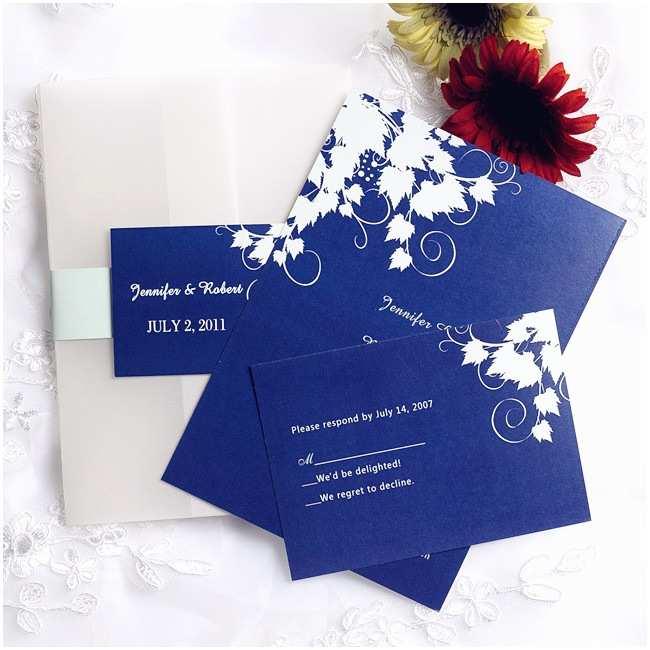 Royal Blue Wedding Invitations Simple Royal Blue Pocket Wedding Invites with Rsvp Cards