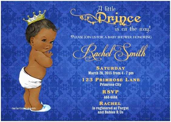 Royal Prince Baby Shower Invitations African American Boy Baby Shower Invitation Boy Printable