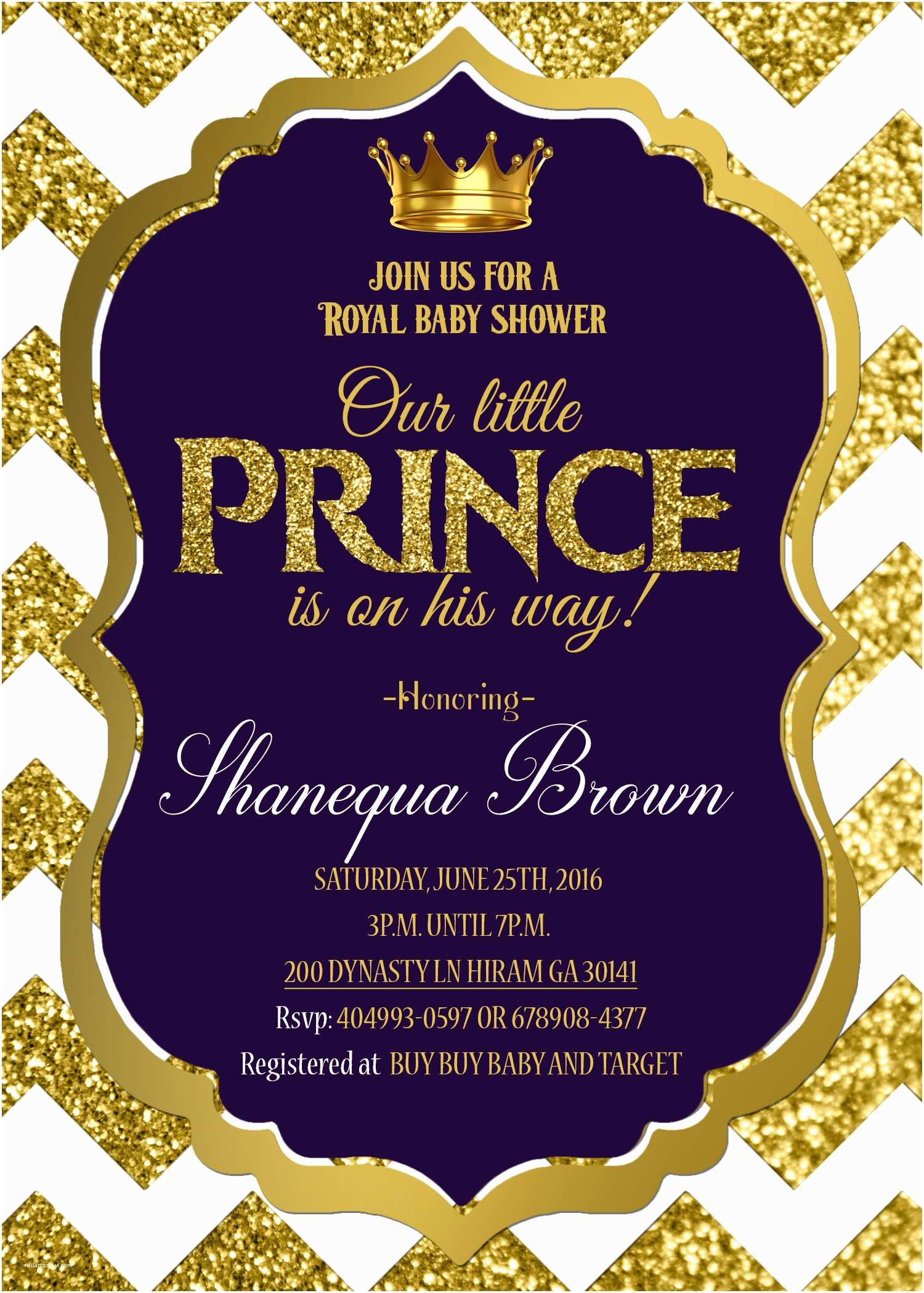 Royal Prince Baby Shower Invitations Blue and Chevron Stripes Background for Prince Baby Shower