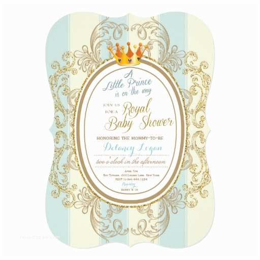 Royal Prince Baby Shower Invitations Blue Gold Royal Prince Baby Shower Invitations