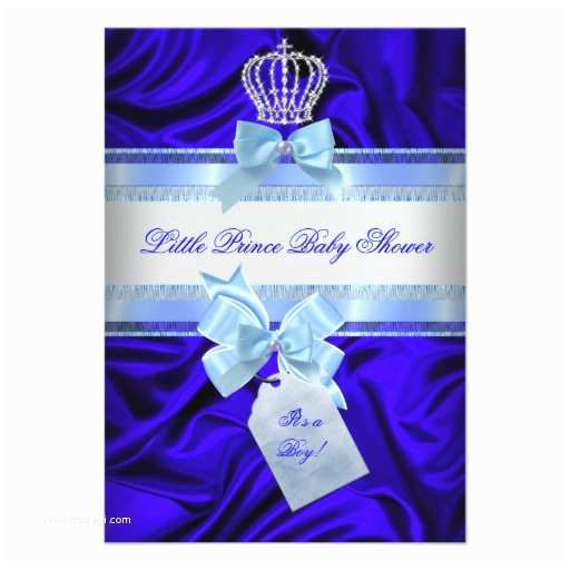 Royal Prince Baby Shower Invitations Little Prince Baby Shower Boy Royal Blue 2 Custom Invitation