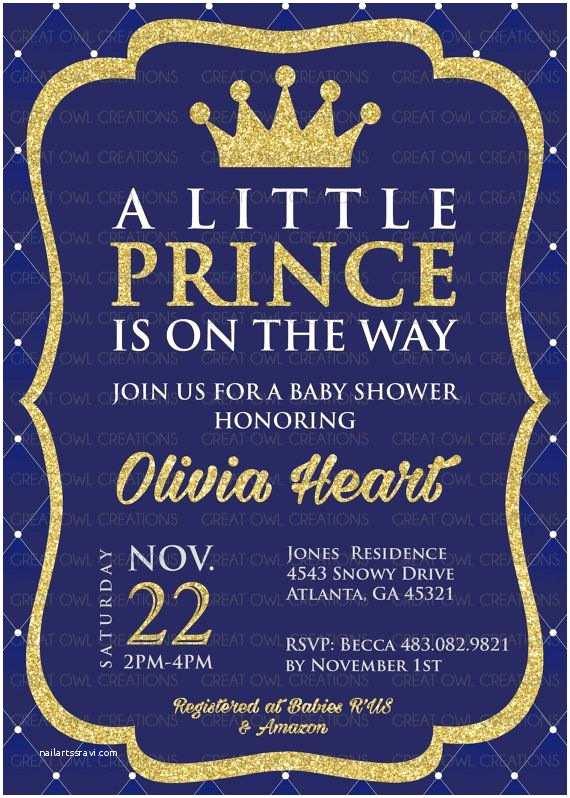 Royal Prince Baby Shower Invitations Prince Baby Shower Invitation