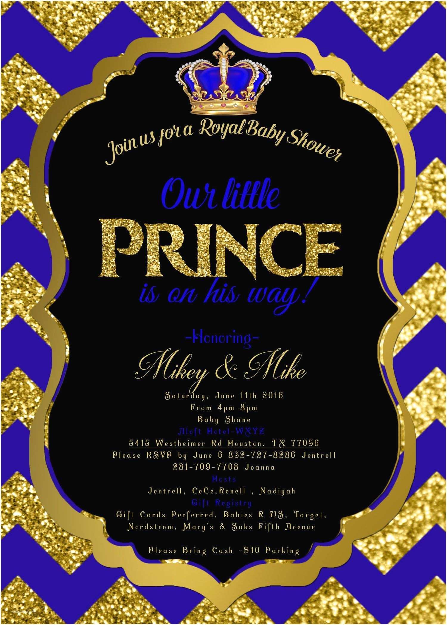 Royal Prince Baby Shower Invitations Royal Baby Shower Invitation Royal Prince Invite