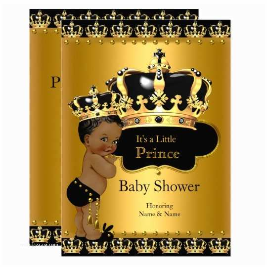Royal Prince Baby Shower Invitations Royal Prince Baby Shower Black Gold Ethnic Card