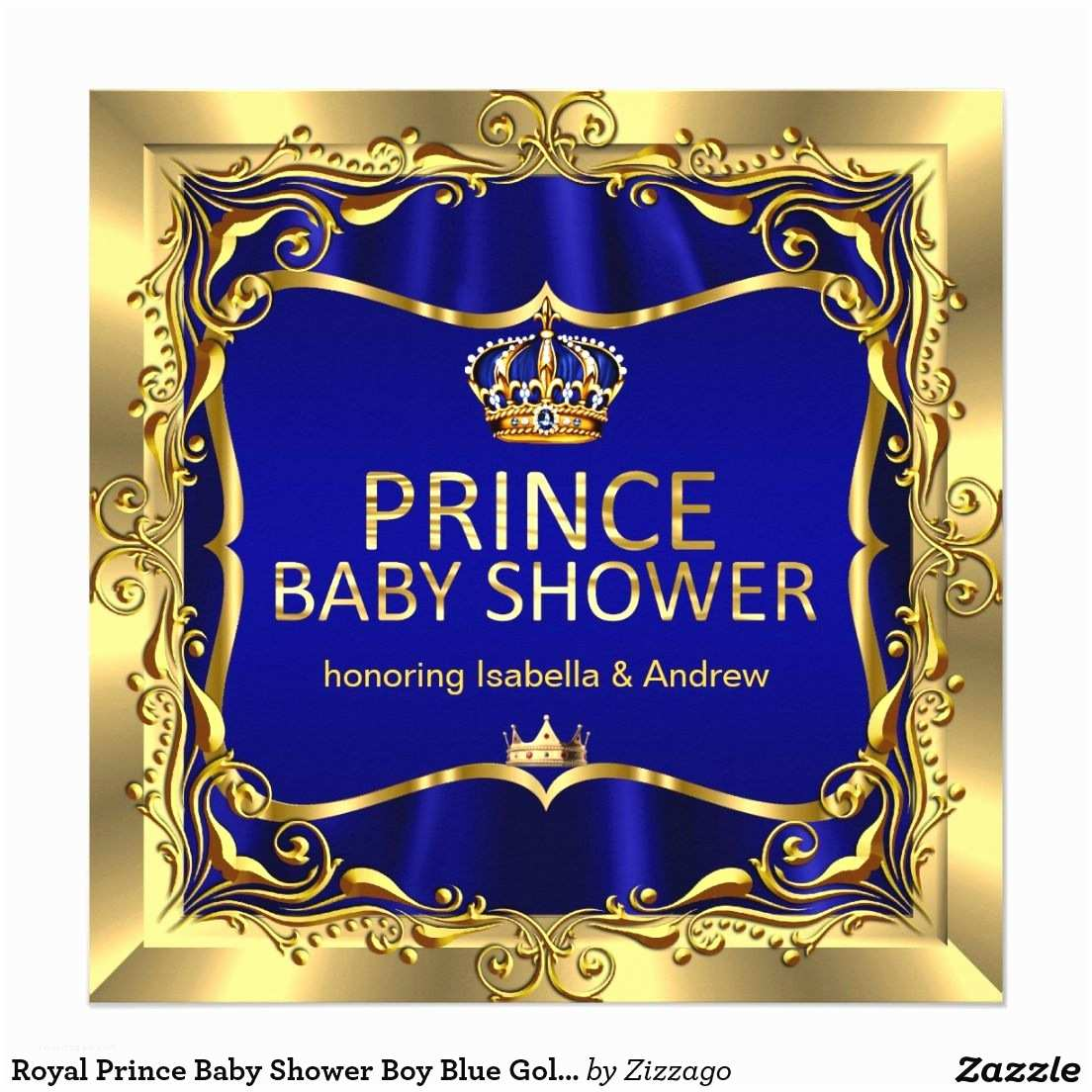 Royal Prince Baby Shower Invitations Royal Prince Baby Shower Boy Blue Gold Invitation