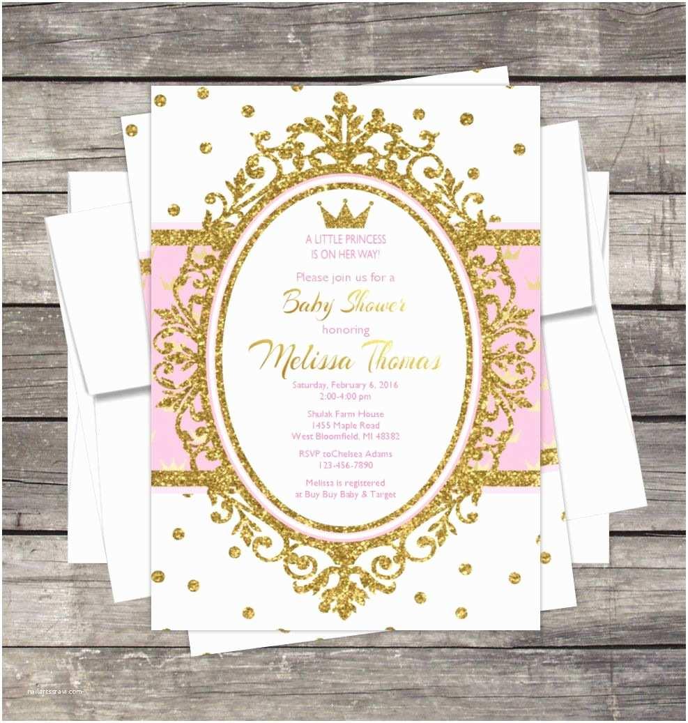 Royal Princess Baby Shower Invitations Royal Princess Baby Shower Invitation Pink Gold Glitter