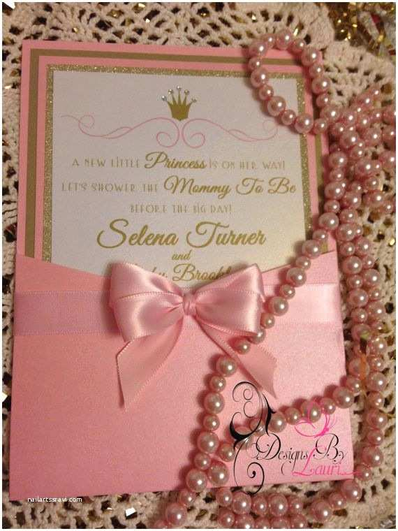 Royal Princess Baby Shower Invitations Royal Princess Pink and Gold Custom Baby by