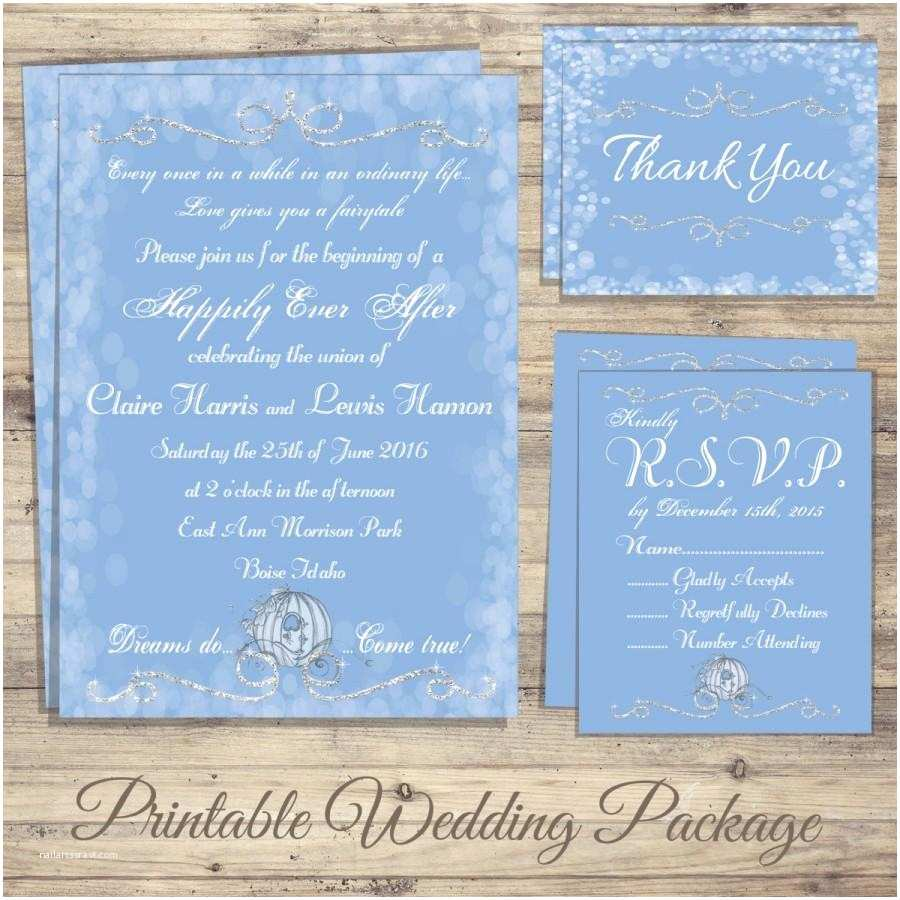 Rsvp Wedding Invitation Cinderella Wedding Invitation Kit Cinderella Wedding
