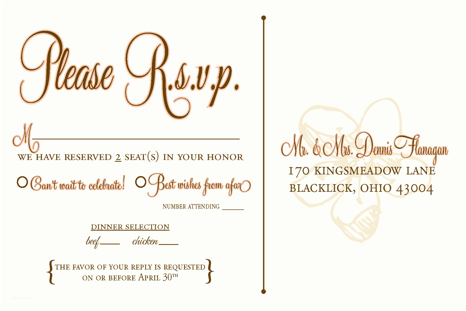 Rsvp Wedding Invitation Wedding Invitation Rsvp Wording