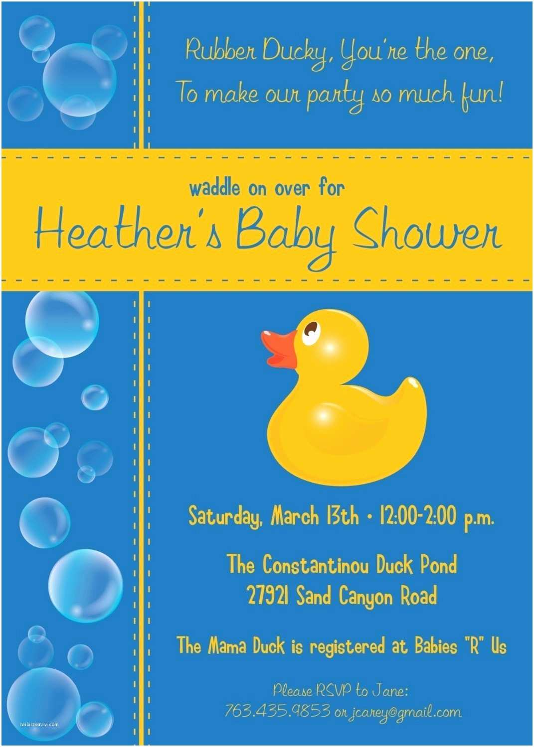 Rubber Duck Baby Shower Invitations Bubbles Rubber Ducky Custom Baby Shower by Kimnelsoncreative