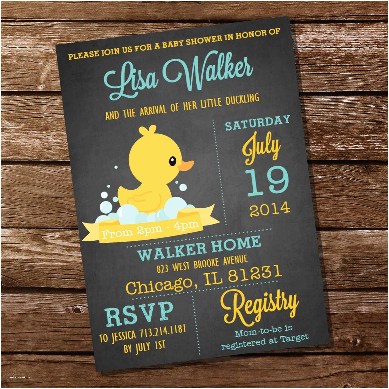 Rubber Duck Baby Shower Invitations Chalkboard Rubber Duck Baby Shower Invitation Instant