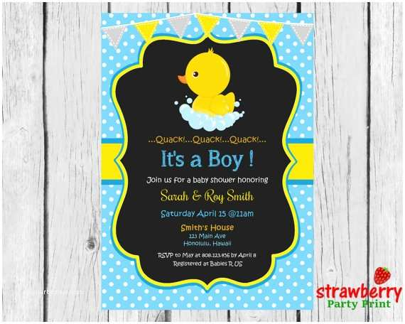 Rubber Duck Baby Shower Invitations Rubber Duck Baby Shower Invitation Chalkboard Yellow Ducky