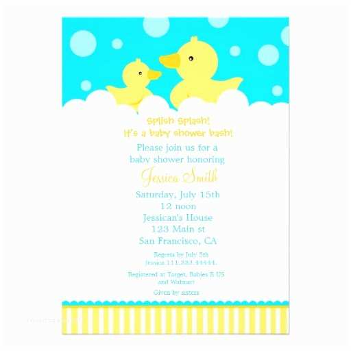 """Rubber Duck Baby Shower Invitations Rubber Ducky Duck Baby Shower Invitation 5"""" X 7"""