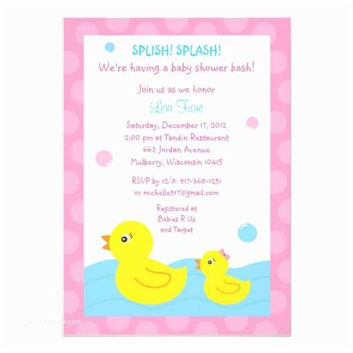 Rubber Duck Baby Shower Invitations Rubber Ducky Duck Girl Baby Shower Invitations