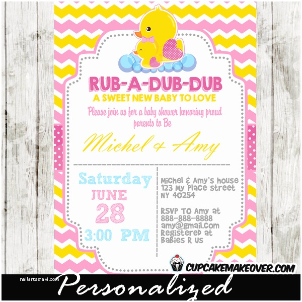Rubber Duck Baby Shower Invitations Yellow & Pink Rubber Ducky Baby Shower Invitation