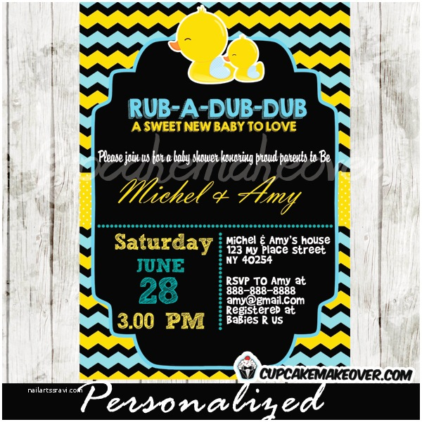 Rubber Ducky Baby Shower Invitations Chalkboard Yellow & Blue Rubber Duck Baby Shower