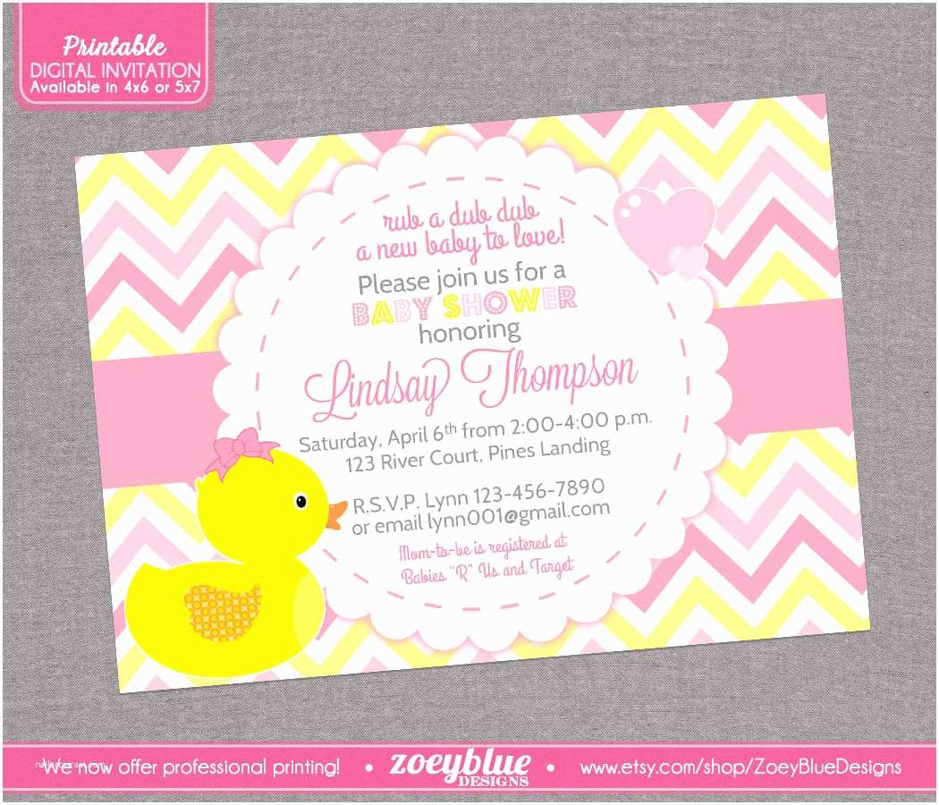 Rubber Ducky Baby Shower Invitations Girl Rubber Ducky Baby Shower Invitation Girl by