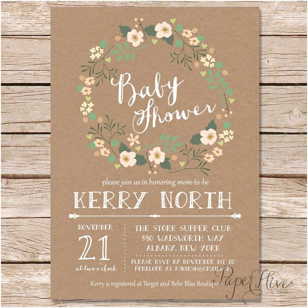 Rustic Baby Shower Invitations Rustic Baby Shower Invitation Floral Wreath Baby Shower