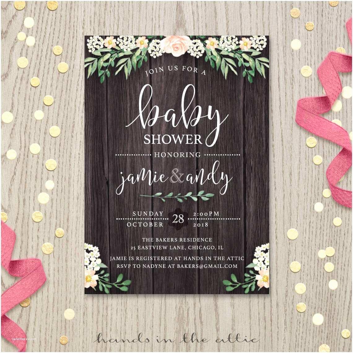Rustic Baby Shower Invitations Rustic Baby Shower Invitation
