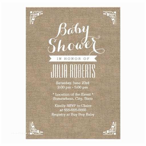 Rustic Baby Shower Invitations Rustic Burlap Texture Baby Shower Invitations