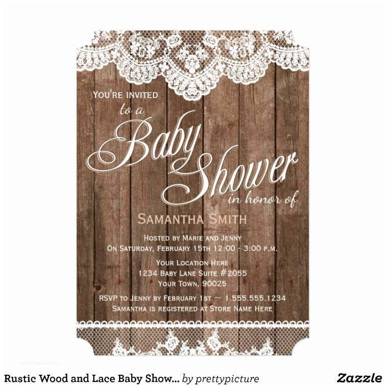Rustic Baby Shower Invitations Rustic Wood and Lace Baby Shower Invitation
