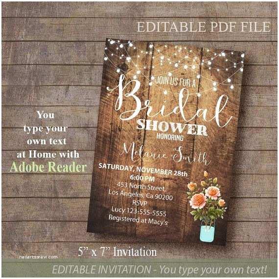 Rustic Bridal Shower Invitations Bridal Shower Invitation Rustic Invite Printable by