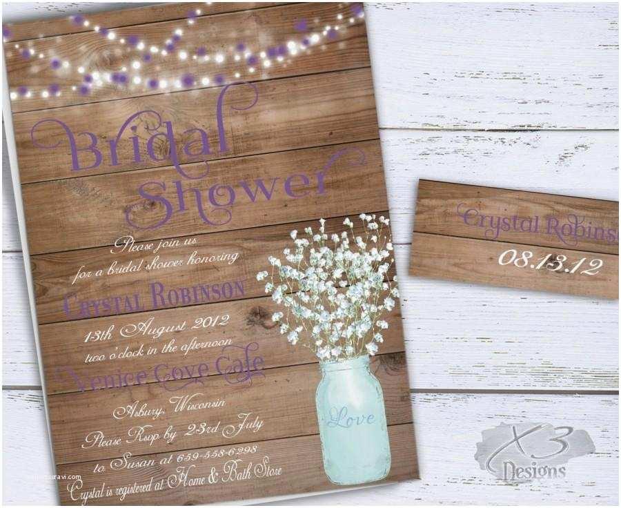 Rustic Bridal Shower Invitations Mason Jar Bridal Shower Invitation Rustic Wedding Shower