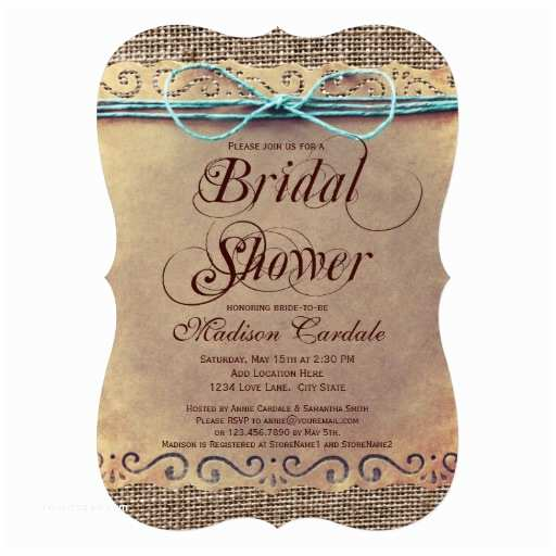 "Rustic Bridal Shower Invitations Rustic Country Vintage Bridal Shower Invitations 5"" X 7"