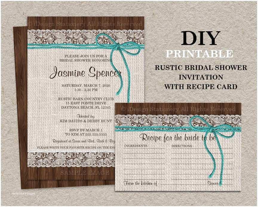 Rustic Bridal Shower Invitations Rustic Turquoise Bridal Shower Invitation with Recipe Card