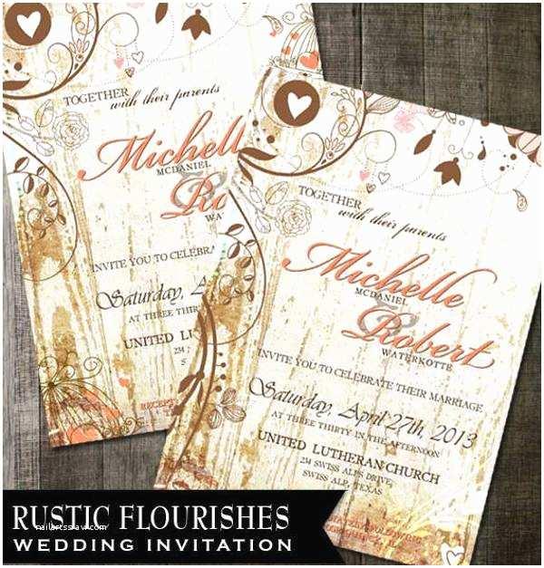 Rustic Chic Wedding Invitations 15 Rustic Wedding Invitations Printable Psd Ai