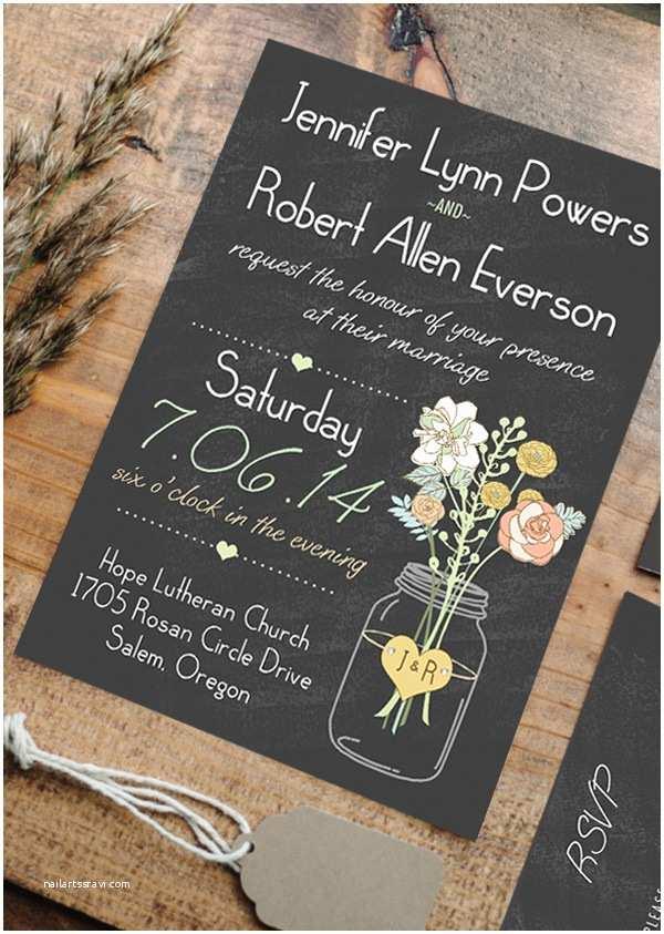 Rustic Chic Wedding Invitations Boho Rustic Wedding Invitations Mason Jars Heart