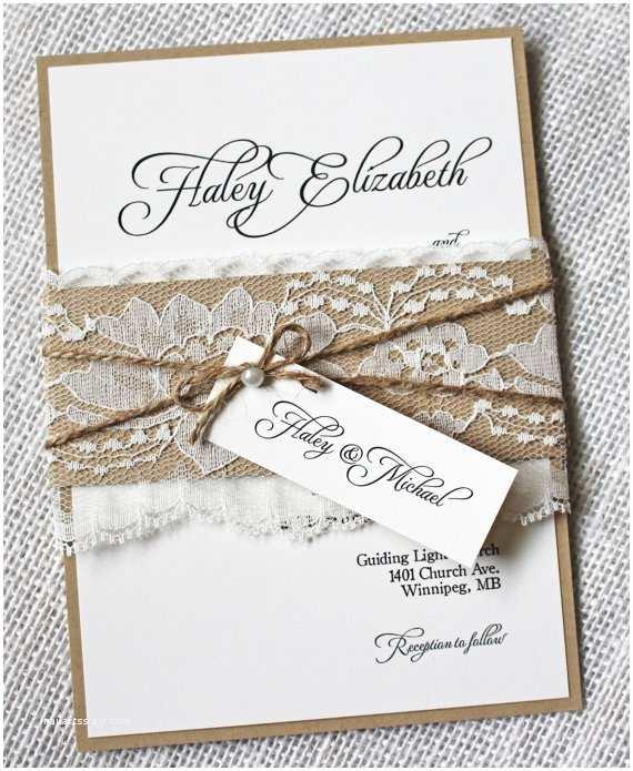 Rustic Chic Wedding Invitations Lace Wedding Invitations Rustic Wedding Invitation Elegant