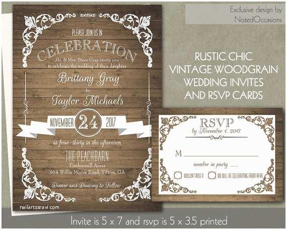 Rustic Chic Wedding Invitations Rustic Chic Barn Wood Wedding Invitation By