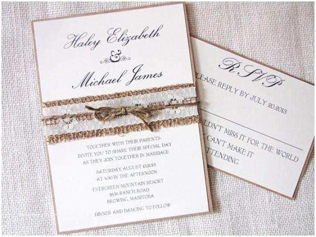 Rustic Chic Wedding Invitations Rustic Wedding Invitation Burlap Wedding Invitation
