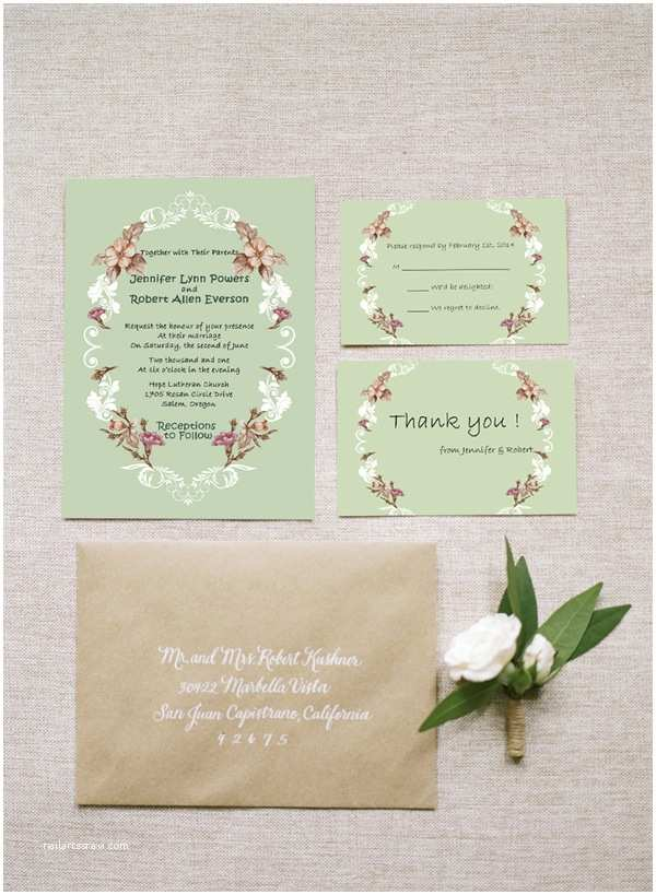 Rustic Chic Wedding Invitations Shabby Chic Vintage Floral Country Rustic Wedding