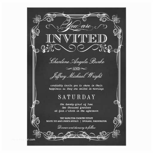 Rustic Elegant Wedding Invitations Elegant Rustic Chalkboard Wedding Invitations