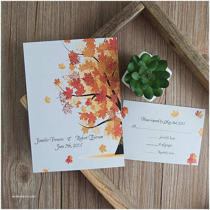 Rustic Fall Wedding Invitations Cheap Maple Tree Fall Rustic Wedding Invitations Ewi404