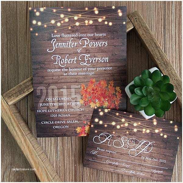 Rustic Fall  Invitations Cheap Rustic Wooden String Light Mason Jar Fall