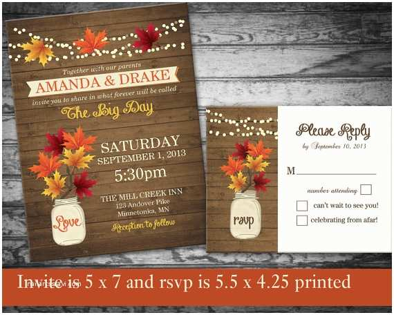 Rustic Fall Wedding Invitations Fall Wedding Invitations Rustic Mason Jar By