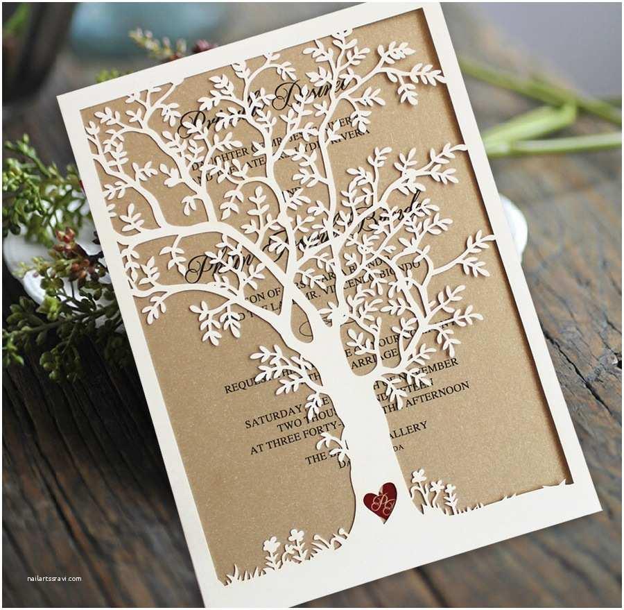 Rustic Fall Wedding Invitations Laser Cut Tree Wedding Invitation Fall Wedding Invitation