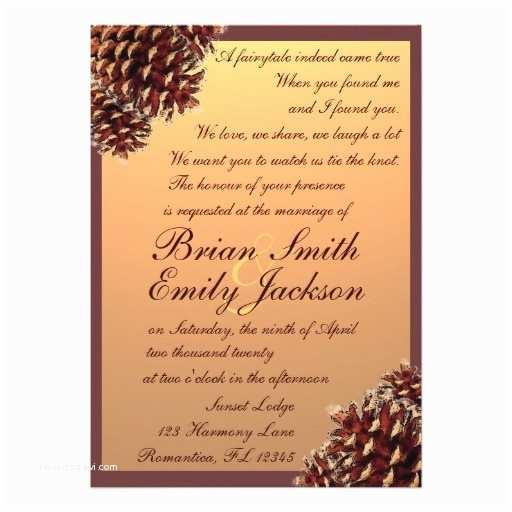 "Rustic Fall Wedding Invitations Rustic Autumn Theme Pinecone Wedding Invitations 5"" X"