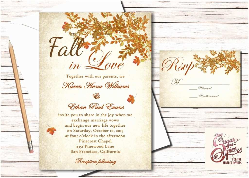 Rustic Fall Wedding Invitations Rustic Fall Wedding Invitation Fall In Love